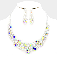 Glass Crystal with Pearl Statement Evening Necklace
