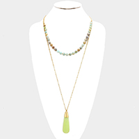 Layered Semi Precious Stone Ball with TearDrop Shaped Precious Stone Necklace