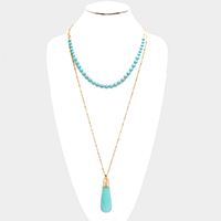 Layered Semi Precious Stone Ball with Tear Drop Shaped Precious Stone Necklace