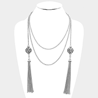 Filigree Ball with Metal Tassel Long Necklace
