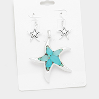 Sea Glass Starfish Pendant Set