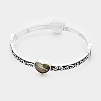 Heart with Patterned Metal Stretch Bracelet