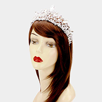 Pave Crystal Glass Oval Pageant Queen Tiara