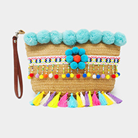 Crochet Straw with Pom Pom & Tassel Clutch Bag