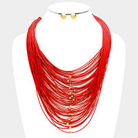 Multi-tier cord bib necklace