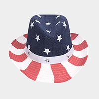 American Flag Fedora with Star Faux Leather Buckle Belt