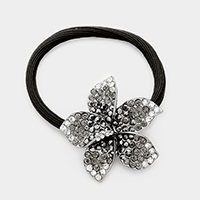 Flower pave rhinestone ponytail hair band