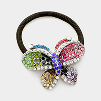 Butterfly pave rhinestone ponytail hair band