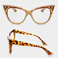 Crystal Cat Eye Clear Optical Lens Glasses