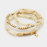 Blessed _ 3 Layered with Cross Stretch Bracelet