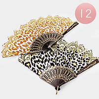 12 PCS -  Zebra Pattern Folding Fans