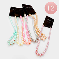 12 PCS - Faux Pearl Necklaces