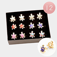 12 PCS - Crystal Accented Turtle Adjustable Rings
