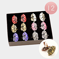 12 PCS - Crystal Accented Flower & Leaf Adjustable Rings