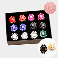 12 PCS - Crystal Accented Adjustable Rings