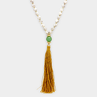 Semi Precious Bead with Tassel Long Necklace