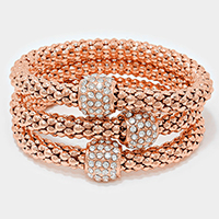 Metal mesh stack stretch bracelet with crystal pave beads