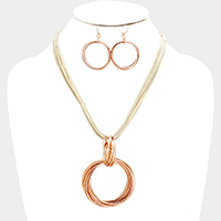 Multi Layered Cord & Metal Round Necklace