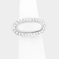 Crystal Lined Oval Statement Ring