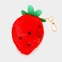Fuzzy Strawberry Keychain