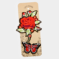 Embroidered Rose & Butterfly Patch Sets
