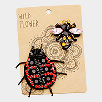 Embroidered Ladybug & Honeybee Patch Set