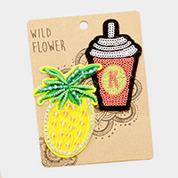Embroidered Pineapple & Coke Patch Set