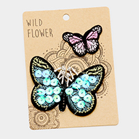 Embroidered Butterflies Patch Set
