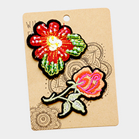 Embroidered Flowers Patch Set