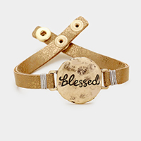 Blessed _ Faux Leather Snap Button Bracelet
