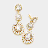 Crystal Rhinestone Triple Round Clip on Earrings