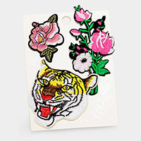 Embroidered Tiger & Flowers Patch Set