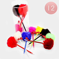 12 PCS - Pom Pom & Dot Ribbon Pens
