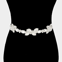Leaf Rhinestone Sash Ribbon Bridal Wedding Belt