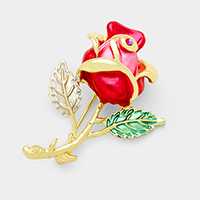 Pave Rose Brooch