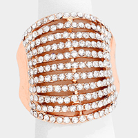 Wide multi-row crystal stretch ring