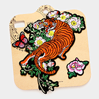 Embroidered Tiger, Butterfly and Flower Patch Set