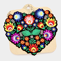 Embroidered Flowers in Heart Shape Patch
