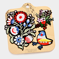 Embroidered Flowers & Bird Patch Set