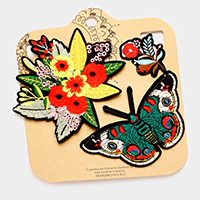 Embroidered Flowers & Butterfly Patch Set