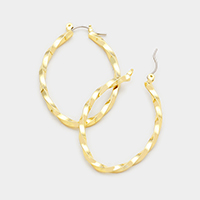 Oval Twisted Pin Catch Earrings