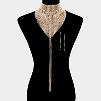 Bling Statement Drop Rhinestone Choker Bib Necklace