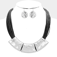 Multi Layered Cord Crescent Hammered Metal Necklace