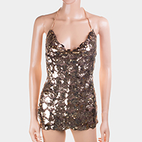 Sequin Cami Short Dress Front Body Chain Necklace