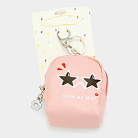 Look_At_Me Star Eyes Faux Leather Backpack Keychain