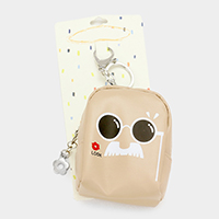 Cute Face with Sunglasses Faux Leather Backpack Keychain