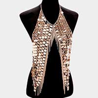 Metal multi-disc & fringe armor body chain necklace