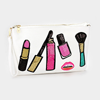 Sequin Cosmetic Patch Clutch Bag