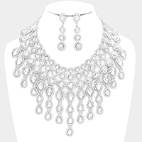 TearDrop Glass Crystal Fringe Statement Evening Necklace