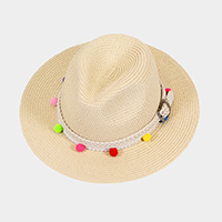 Rainbow Pom Pom Short Brim with Belt Decorated Sun Hat